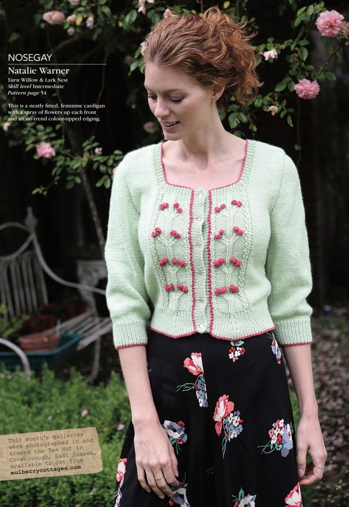 nosegay cardigan natalie warner knitting magazine 2018